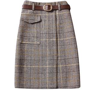 Bella Philosophy summer new plaid women wool skirts fashion vintage slim sexy lady elegant skirts fashion clothing