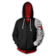 Fans Wear Sweatshirts 3D Printed Hoodies Winter Soldier Bucky Barnes Zip Up Sweatshirt for Marvel Movie