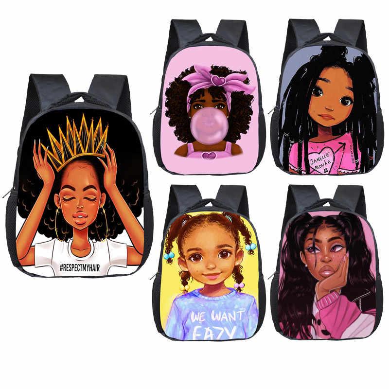 Cartoon afro black girl a cute