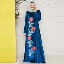 Siskakia Velvet Embroidery Long Dress Plus Size O Neck Long