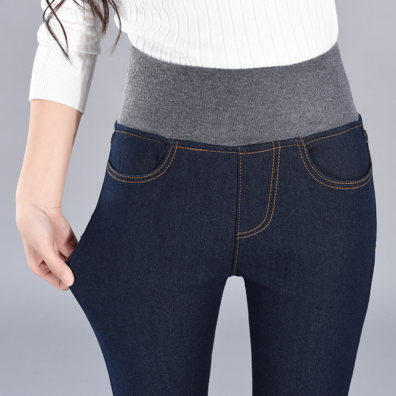 Autumn & Winter New Style 2019 Thick Golden Fleece Jeans Women's Elastic High-waisted Trousers Skinny Pants Women's