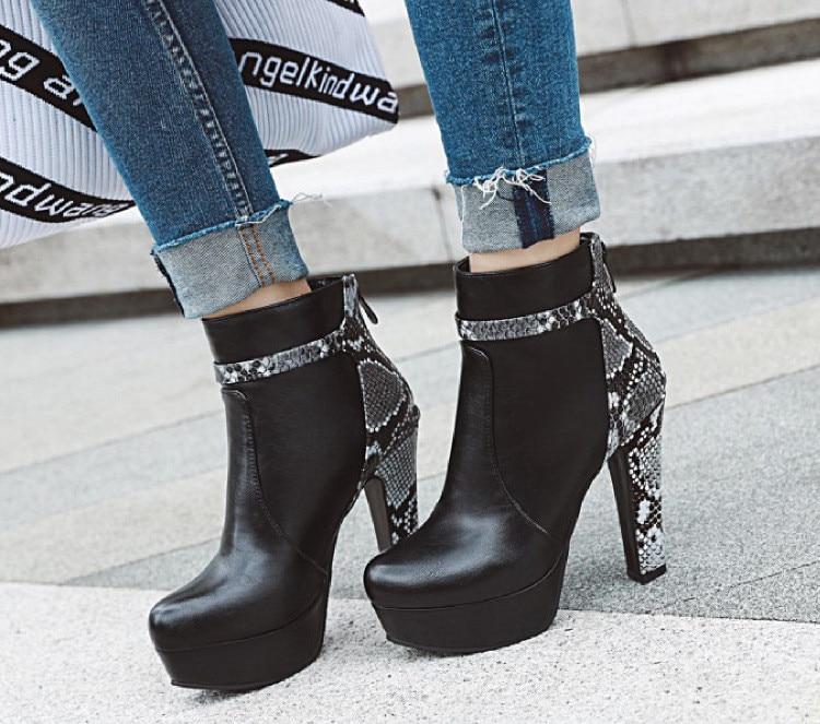 Lolita Boots Booties Ladies Low Heels Booties Clogs Platform Snake Print Lace Up Zipper Women's Rubber Shoes Rain Round Toe