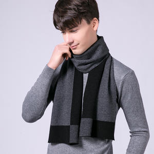 Wool Scarf Wraps Pashmina Foulard Plaid Gentleman Winter Men for Warm-Echarpe Man's Real-Wool-Ring