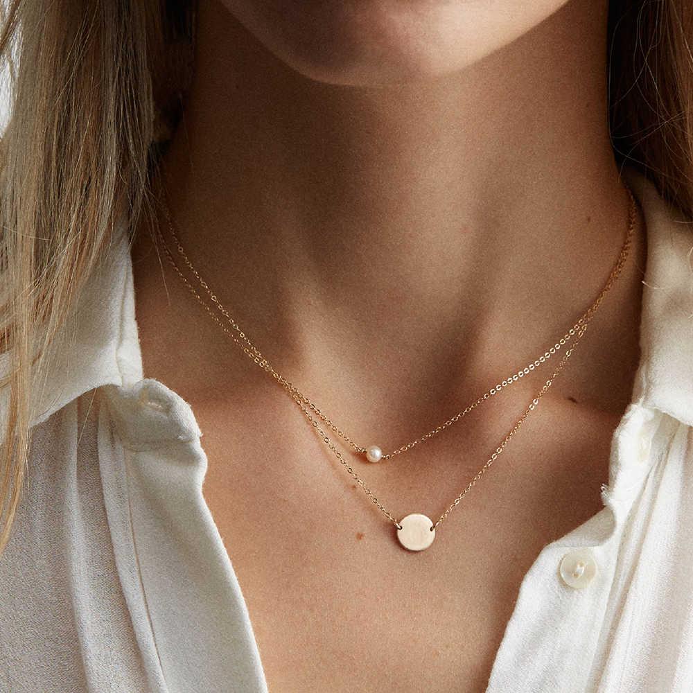 E-Manco Rvs Choker Parel Kettingen Voor Vrouwen Goud Gelaagde Ketting Sieraden