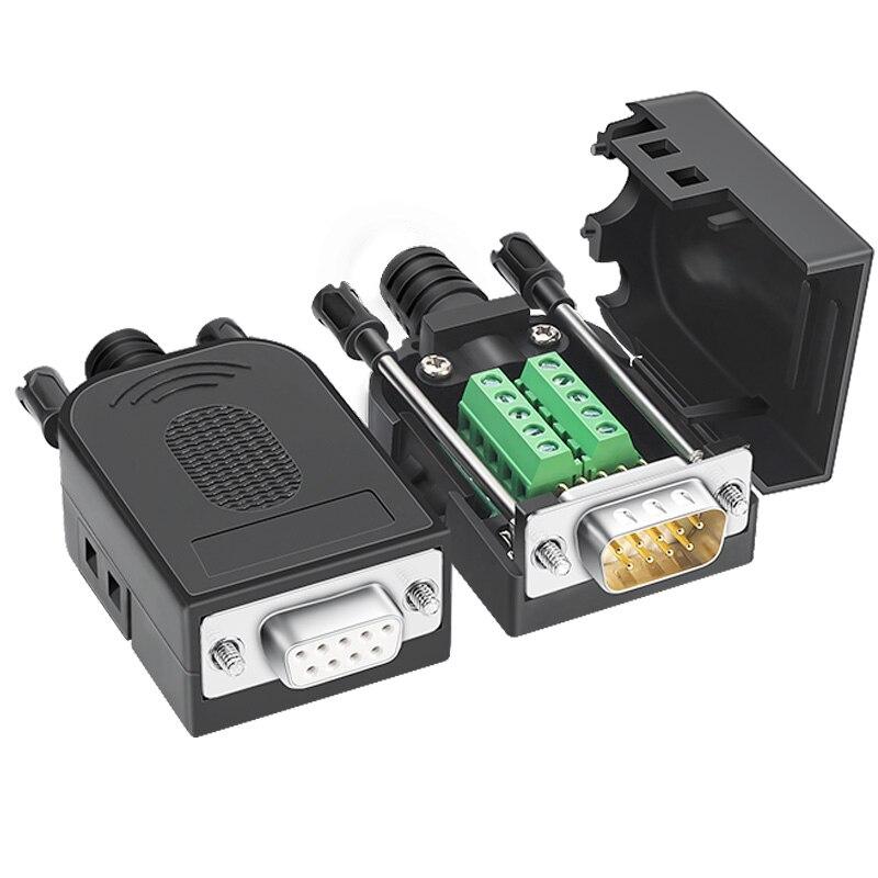 DB9 разъем RS232 мужской женский D-SUB 9 контактный разъем RS485 коммутационная терминалы 21/24 AWG провода пайки COM разъемы DB9