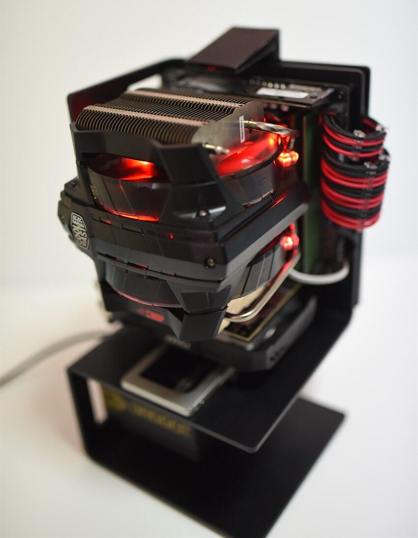 Mini ITX PC Caso Banco de Ensaio ao Ar livre liga De Alumínio Quadro de Apoio Vertical SFX ATX fonte de Alimentação Chassis De Refrigeração De Água