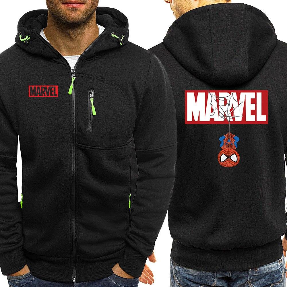 Spiderman Marvel Hero Autumn 2019 New Hoodies Jacket Men Sweatshirts Casual Fleece Coat Hip Hop Zipper Funny Hooded Sportswear