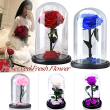 Eternal Rose Flower With Dome Glass Black Case Artificial Gift For New Year Valentine Christmas Gif  Good Home Decoration