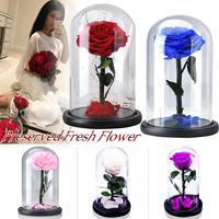 Eternal Rose Flower With Dome Glass Black Case Artificial Flower Gift For New Year Valentine Christmas Gif Good Home Decoration