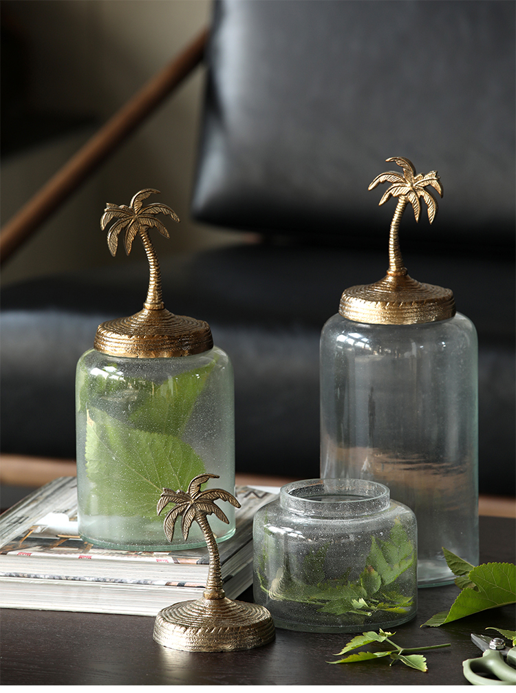 Modern Golden Coconut Tree Sculpture Glass Storage Tank Home Room Living Room Coffee Table Creative Home Decoration Jar Ornament Bottles Jars Boxes Aliexpress