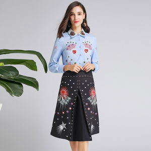 Image 4 - AELESEEN Ruway Gedrukt Office Lady Twinset Luxe Kralen Kraag Lovertjes Blauw Shirt Tops + Black Star Print Mid Kalf rok Set
