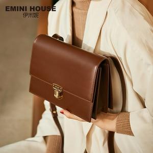 Image 1 - EMINI HUIS Hangslot Crossbody Tassen Voor Vrouwen Luxe Handtassen Vrouwen Tassen Designer Split Lederen Vrouwen Messenger Bag Dames Portemonnee