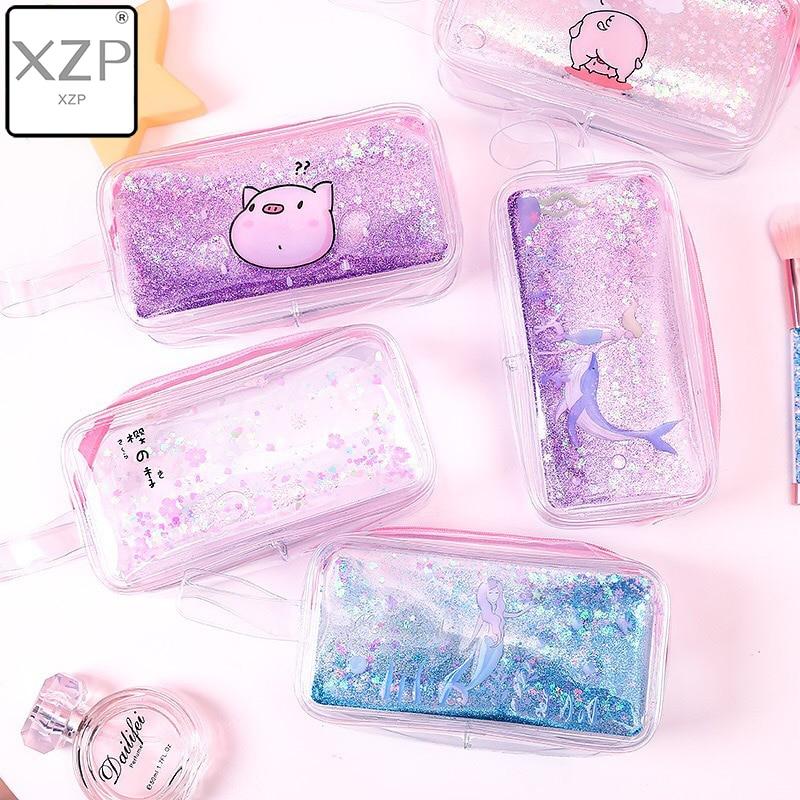 XZP Cartoon Dream Pink Girls Mermaid Pig Flower Quicksand Oil Cosmetic Bags Transparent Pencil Case Stationery Laser Makeup Bag
