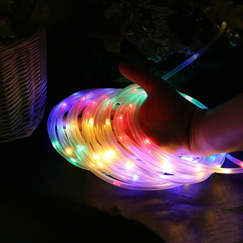 Remote Led Rainbow Rope Tube String Lights 10M 100Leds Battery Powered Outdoor Christmas Garland Garden Path Fence Lights