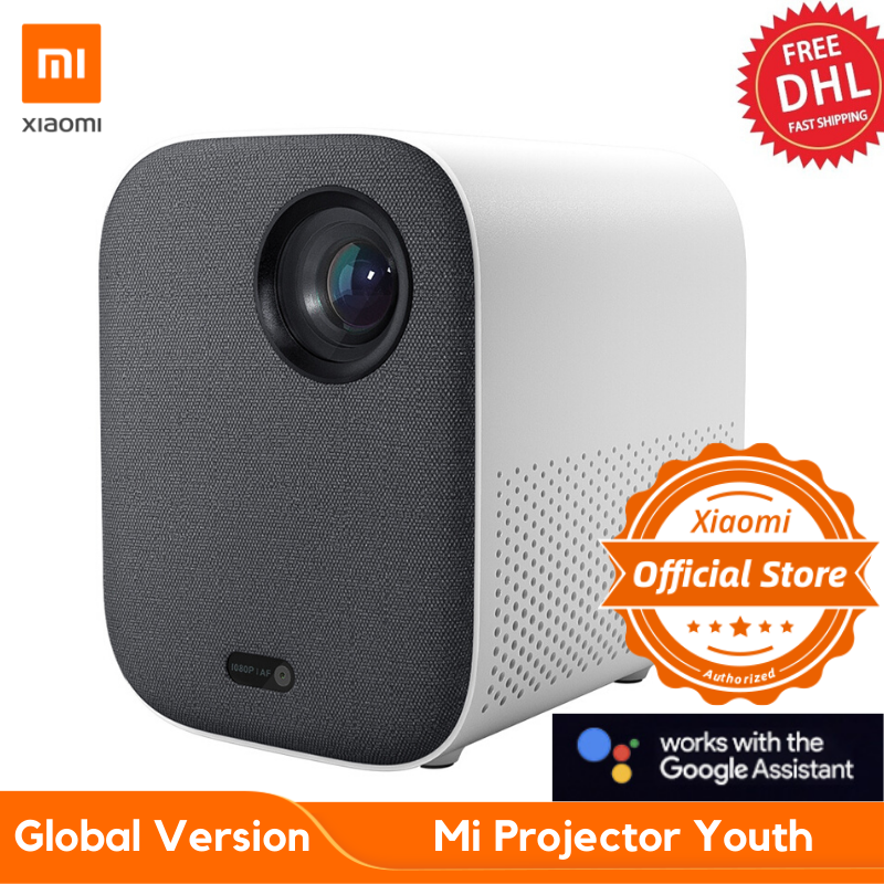 "Nova versão global xiaomi mijia projetor mini 60 - 120 ""hd completo 1080p dlp 500ans dolby áudio android 9 tv google assistente-0"