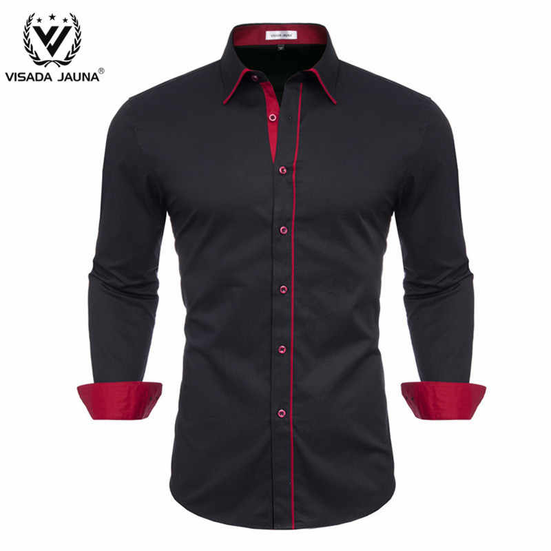Visada Juana Pria Fashion Kepribadian Pria Casual Slim Lengan Panjang Kemeja Atas Blus Camisa Masculina Pakaian Pria y122