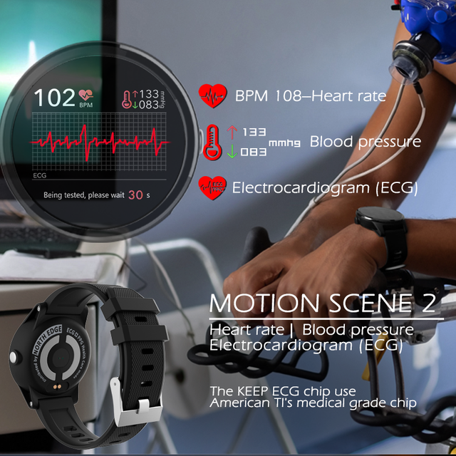 NORTH EDGE Smart PPG+ECG Blood Pressure Watches Fitness Tracker Heart Rate Monitor 5