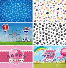 Fundo de fotografia crianças bebê aniversário banner pano de fundo pata cão festa azul pata menino foto fundo photocall