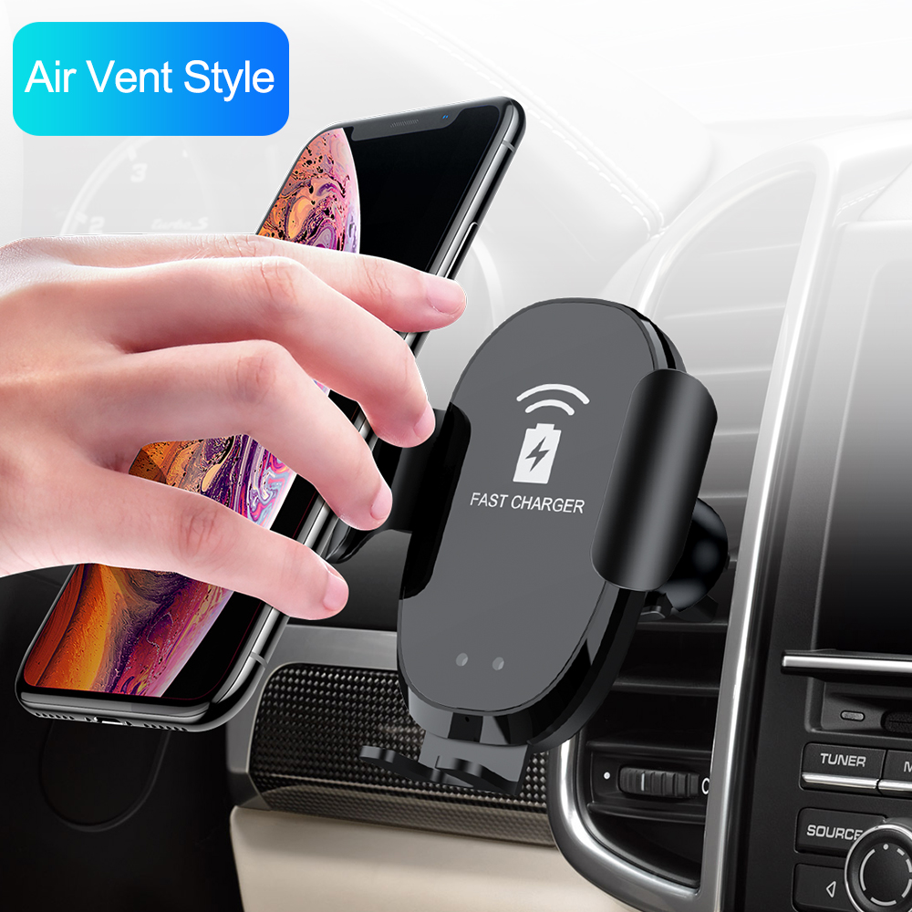 Infrared Sensor Automatic Qi Car Wireless Charger for iPhone X XS 8 Samsung S9 S8 Fast Wireless Charging Car Phone Holder Stand|Car Chargers| |  - title=