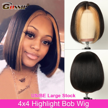 Straight 4x4 Highlight Bob Wig Short Closure Lace Front Human Hair Wigs For Black Women Gossip Remy - discount item  58% OFF Human Hair (For Black)