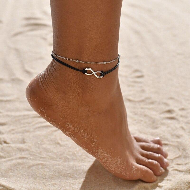 Купить yada винтажные двухслойные ножные браслеты для женщин аксессуары