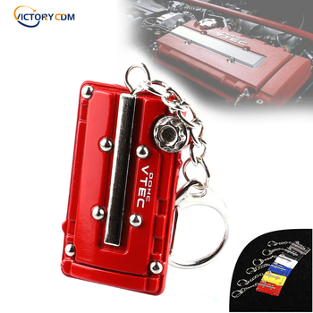 Metal Key Chain Car JDM Turbo Key Ring Vtec DOHC B16 Series Engine Valve Cover For Honda Civic EG EK image