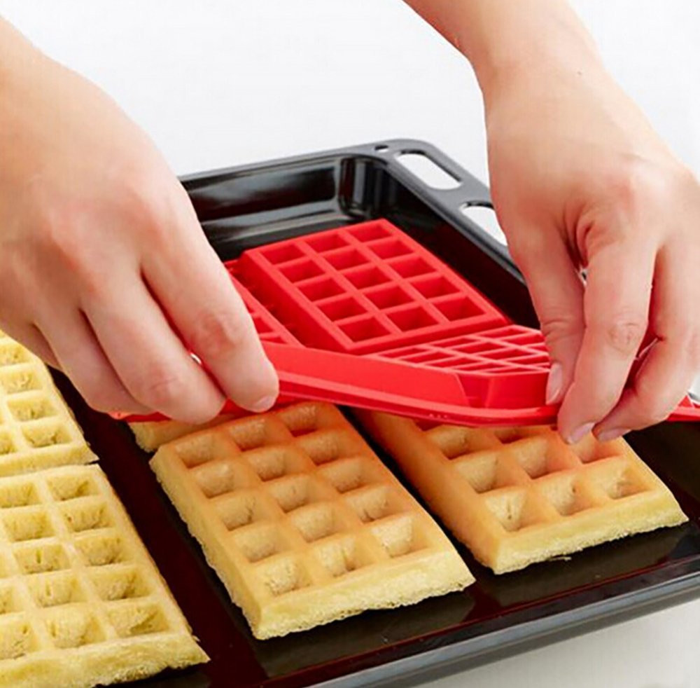 Chocolate Mold Trays Waffles-Pan Square Silicone DIY Mini 4-Even Muffin Baked title=