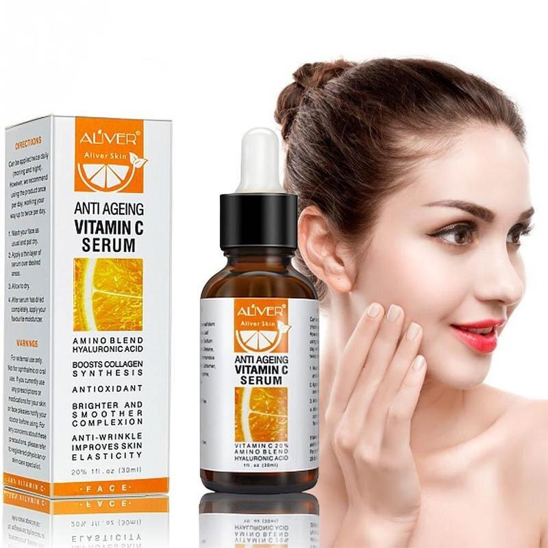 30ml ALIVER Vitamin C Serum VC Remove Dark Spot Freckle Speckle Fade Ageless Whitening Skin Care Face Anti Winkles Serum