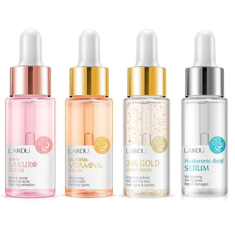 15ml Gold Snail Essence & Vitamin C Essence Whitening Serum Japan Sakura Essence Anti-Aging Hyaluronic Acid skin Care Face Serum