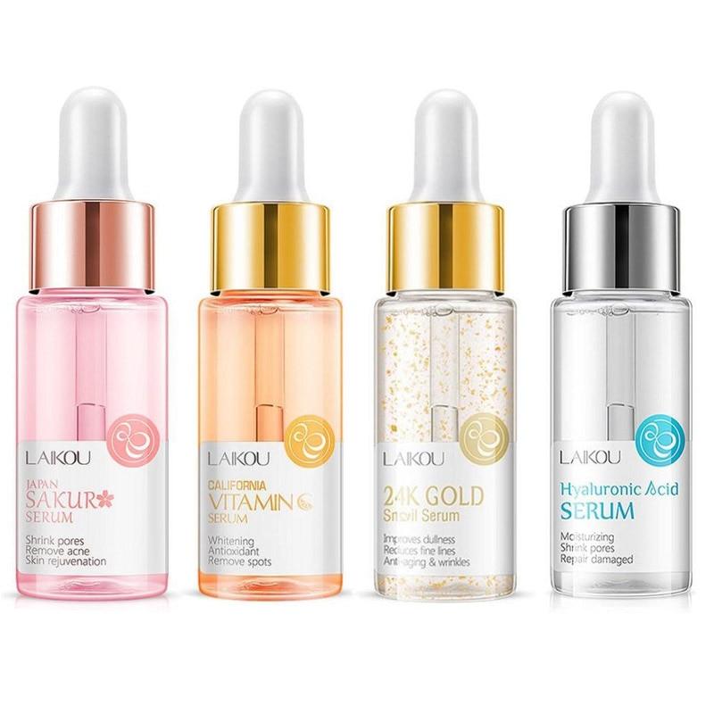 15ml Gold Snail Essence & Vitamin C Essence Whitening Serum Japan Sakura Essence Anti-Aging Hyaluronic Acid Skin Care Face Serum