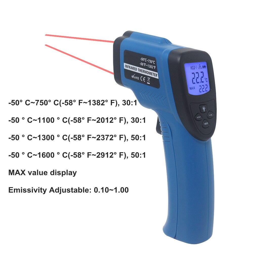 Image 4 - Цифровой инфракрасный термометр Бесконтактный ИК лазерный  измеритель температуры пирометр C/F одиночный/двойной лазерный  термометрПриборы для измерения температуры   -