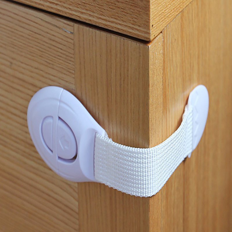 10PCS/lot White Plastic Lock Multi-function Child Safety Buckle Drawer  Prevents The Clip From Opening Baby Home Safety Products