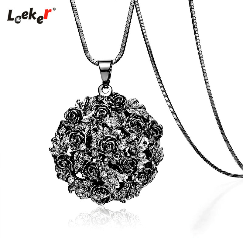 LEEKER Gothic Style Black Rose Flower Ball Big Pendant Necklace Long Snake Chain Women Statement Jewelry 100 LK7