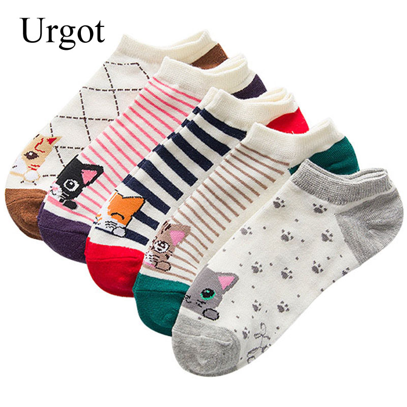 5 Pairs Women Cotton Ankle Socks Soft Comfortable Elasticity Sock Mouth Interesting Cartoon Cat Striped Color Happy Casual Socks