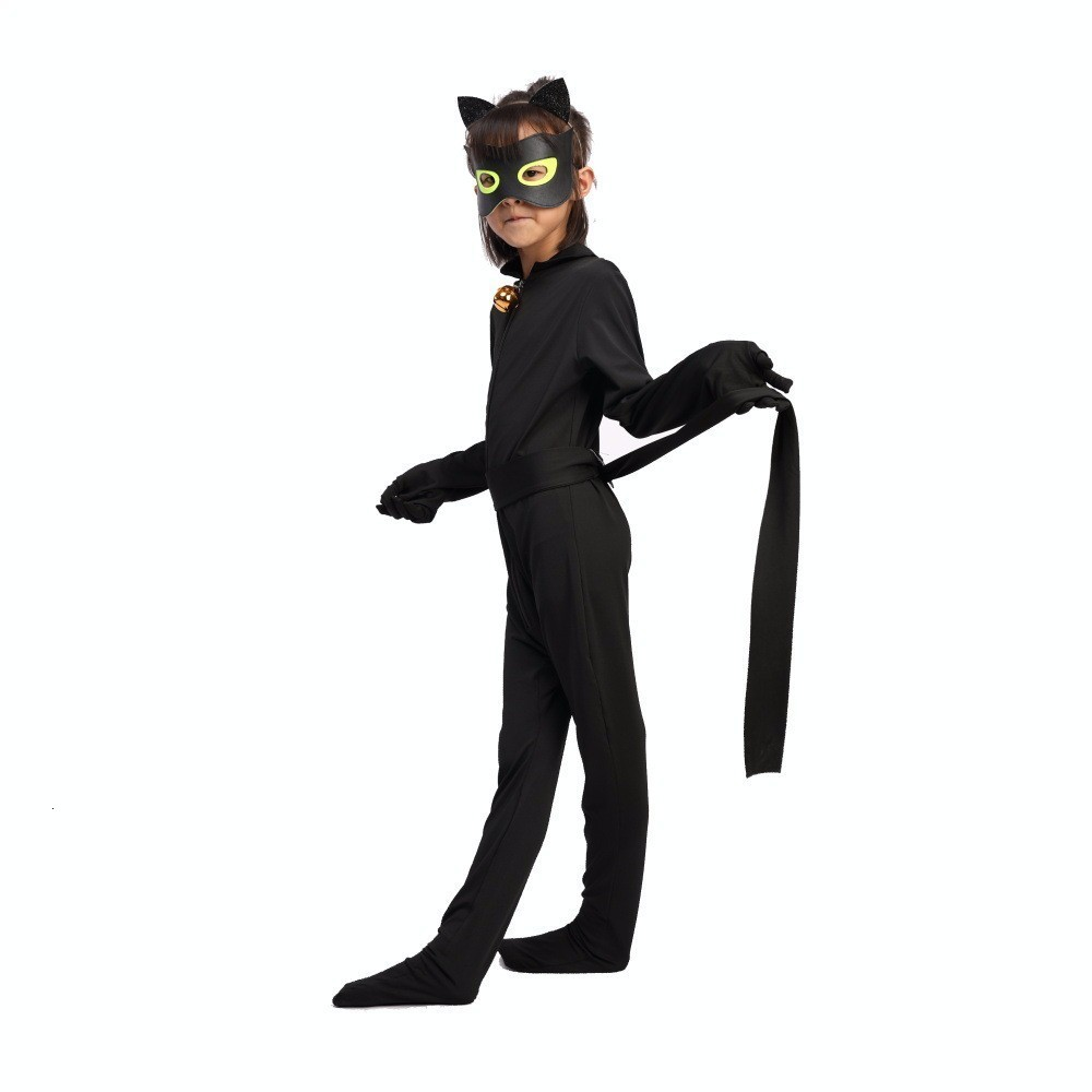 Adult Kids Fantasia Lady Cosplay Bug Costume Black Cat Noir Full Set Halloween Costume Lady Spandex Marinette Bug Zentai Suit 2