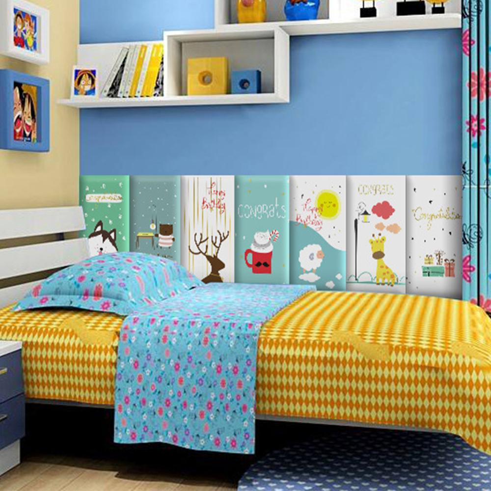 Children's Anti-collision Wall Stickers Soft Pack Wallpaper Self-adhesive Baby Back Wall Paper Bedroom Bedside Soft Bag