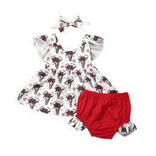 baby girl clothes Christmas Newborn Baby Girl Deer Tops Dress Red Shorts Pants Headband Outfit Xmas Clothes Set roupa bebe стоимость