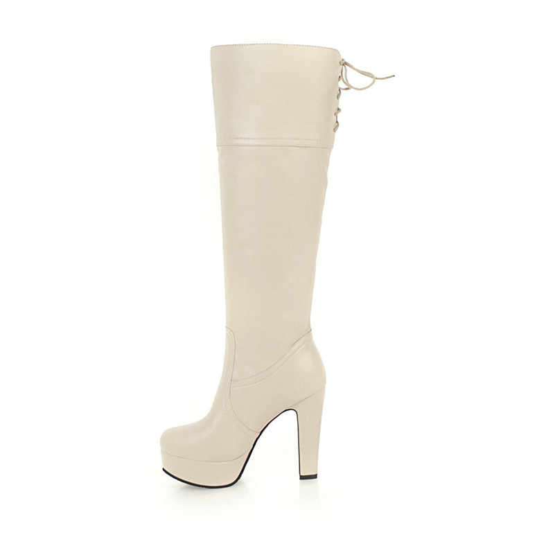 Meotina Kadın Botları Kış Diz Yüksek Çizmeler Dantel Kadar Platformu Kalın Topuk Uzun Çizmeler Aşırı Yüksek Topuk Ayakkabı Bayanlar boyutu 33-45