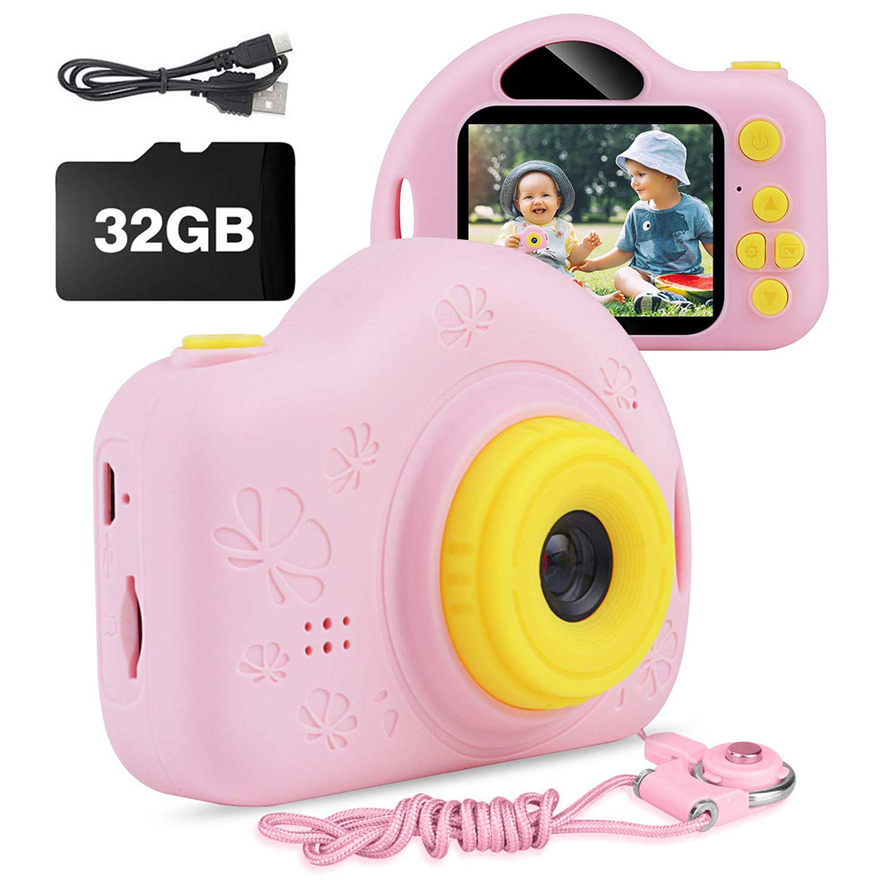 Digital Camera Child Camera Toy 2.0Inch Mini Camera Multi Clock Frame Background Children Camera Built-in Game Mini Video Camera