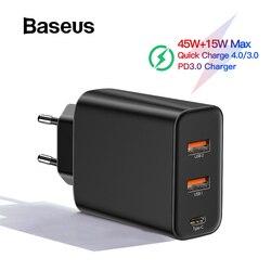 Baseus 60W PD 3,0 cargador rápido USB para iPhone 11 Pro Xs Max Xr cargador de teléfono con Carga rápida 4,0 3,0 FCP SCP para Xiaomi Huawei