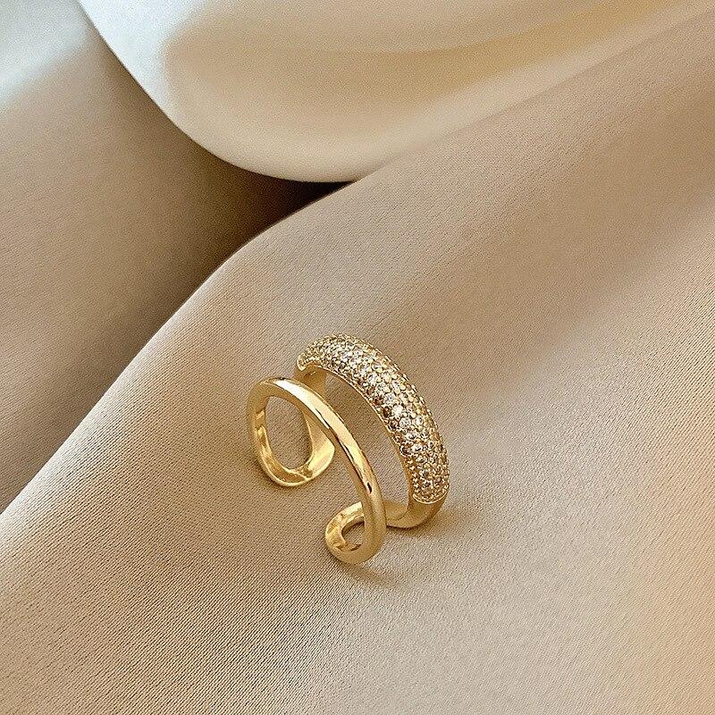 Новое Изысканное простое геометрическое кольцо в Корейском стиле модное темпераментное универсальное Открытое кольцо элегантные женские ...