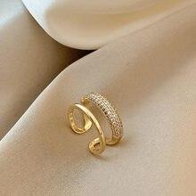 Novo requintado geométrico simples anel moda temperamento versátil anel aberto elegante jóias femininas