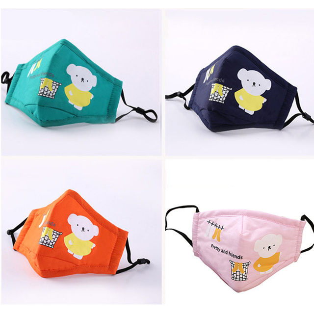 Kid Mouth Mask Dustproof Cartoon PM 2.5 Filter Mask Mouth Cover With Filter Pad For Children Face Mouth Anti Dust Masks Cover 3
