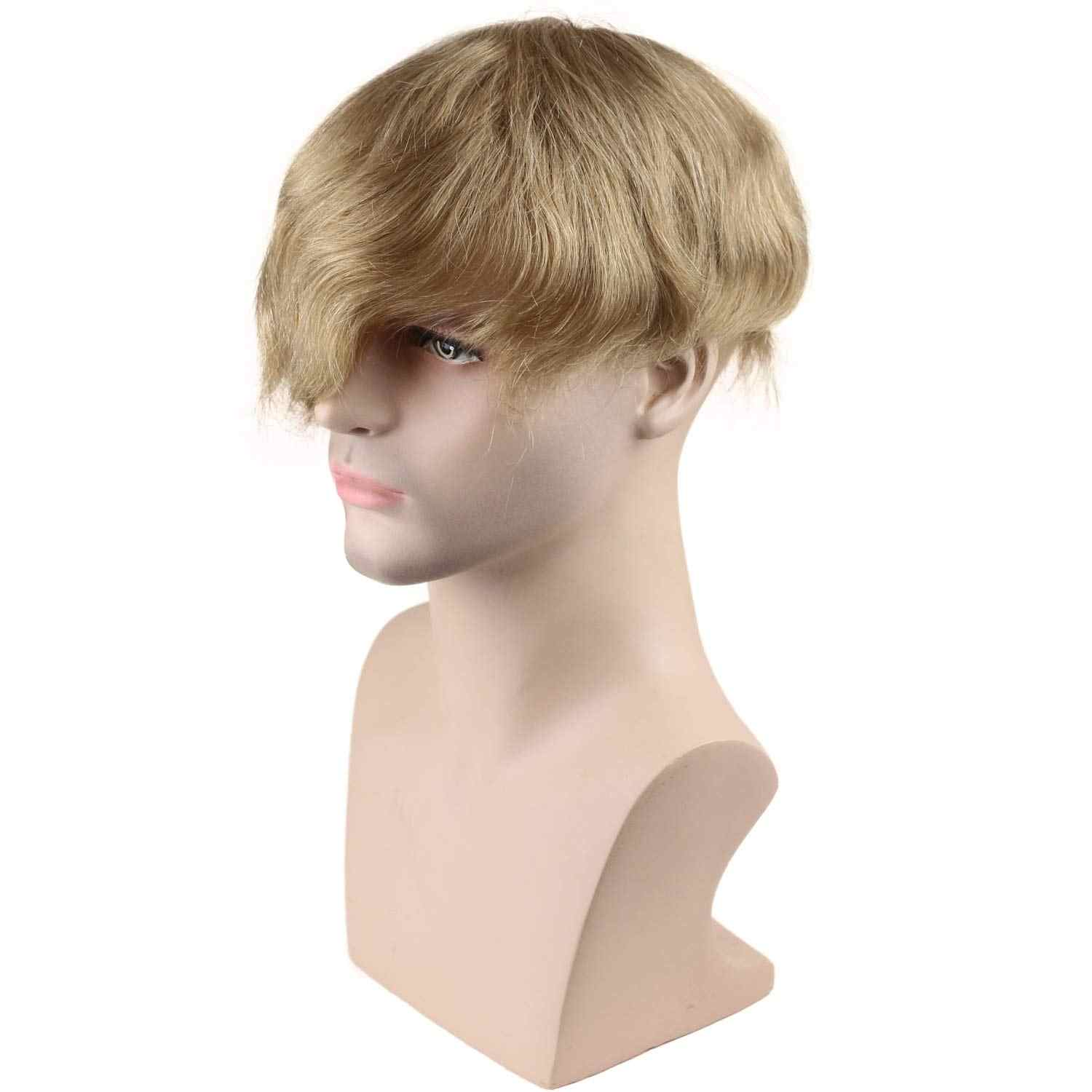 Men's Toupee Swiss Mono Lace Thin Skin Hairpiece wigs Replacement System for Men #21 Ash Blonde Color European Human Hair 10x8""