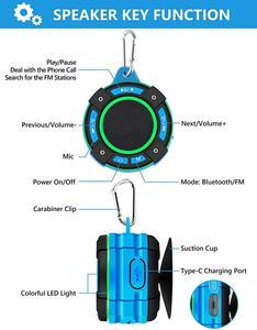 Image 5 - Basspal F021 Tws IPX7 Waterdichte Bluetooth Douche Luidspreker, Draagbare Draadloze Luidspreker Met Led Lichtshow, Fm Radio, zuignap