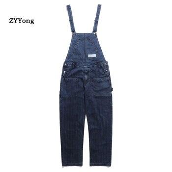 цена Fashion Vintage Japan Style Male Loose Overalls Jeans Men's Light Blue /Blue Denim Jumpsuits Jeans Casual Pants Full Length онлайн в 2017 году
