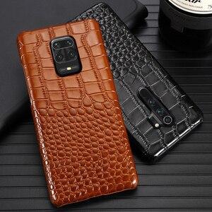 Image 1 - Skórzany futerał na telefon do Xiaomi Redmi Note 9 S 8 7 6 5 K30 Mi 9 se 9T 10 Lite A3 Mix 2s Max 3 Poco F1 X2 X3 F2 Pro krokodyl