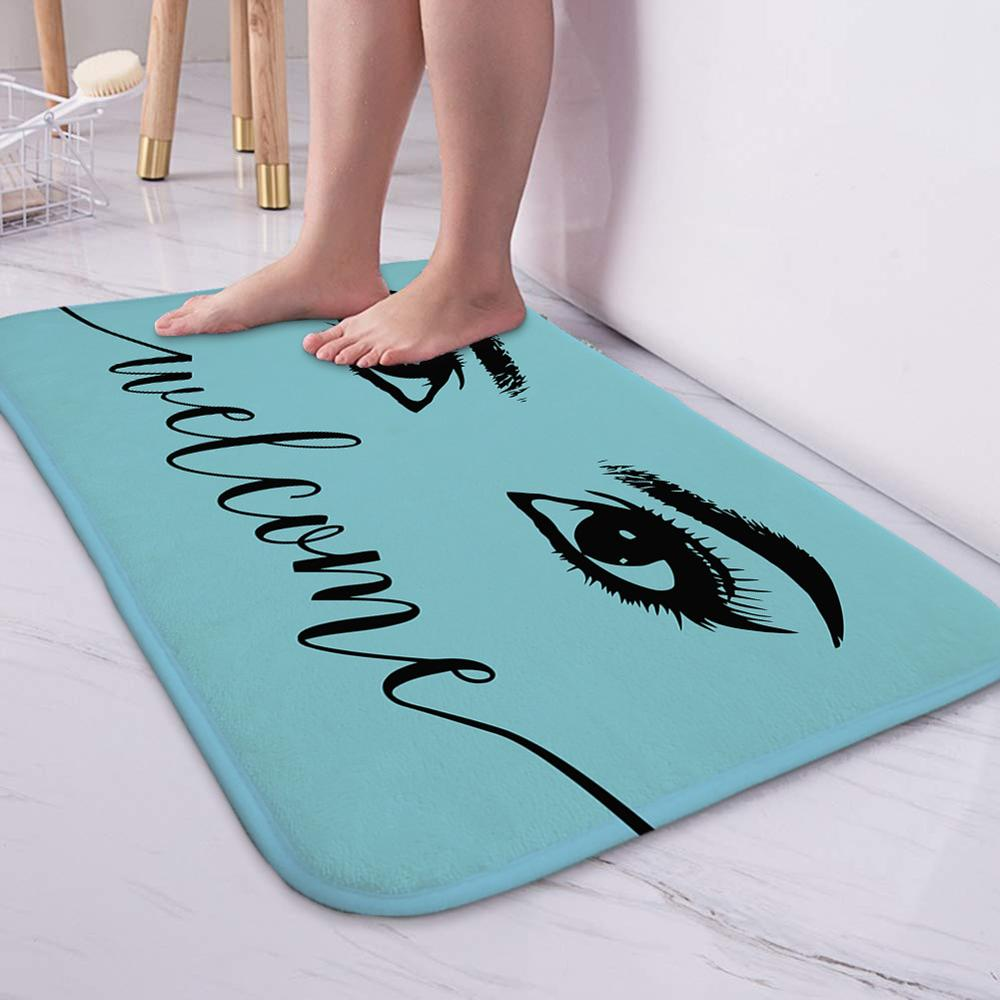 Anti-slip Absorb water Bath mat  Cartoon eyelash Bathroom kitchen bedroon floor mat Entrance Rugs kids prayer mat 40*60cm 0050 3
