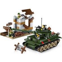 Models building toy ENLIGHTEN 1711 Tiger Tank Military Fighter Building Blocks c