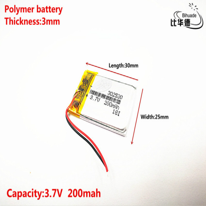 <font><b>302530</b></font> 3.7V 200mah Lithium polymer Battery with Protection Board For MP4 Digital Products Free Shipping image